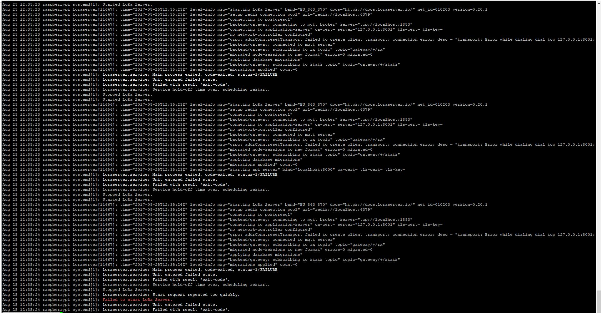 Failed to start LoRa Server - Setup and configuration - LoRa Server