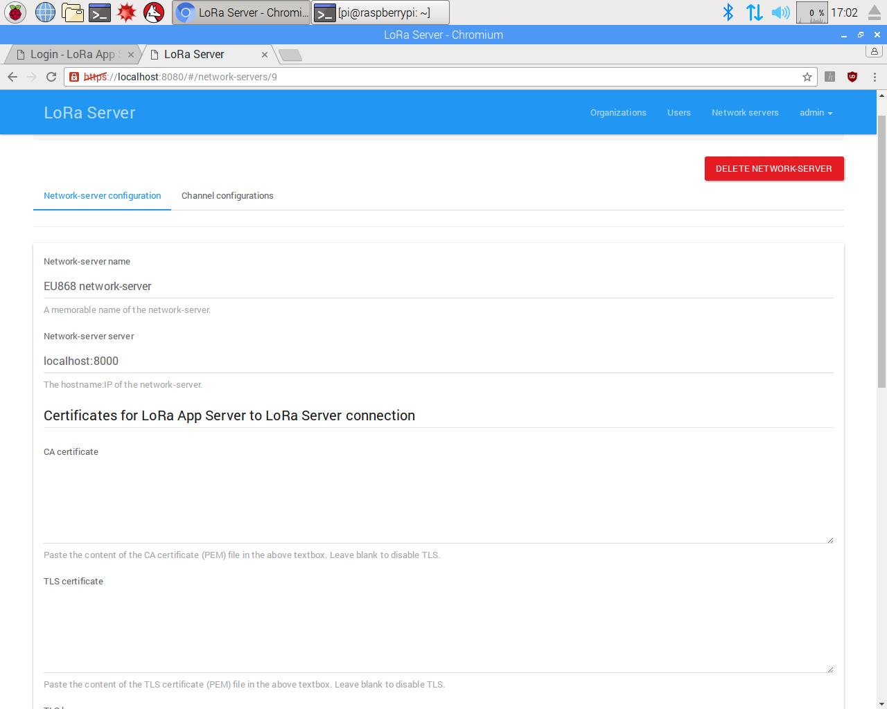 LoRa server(appserver and networkserver) Installation on