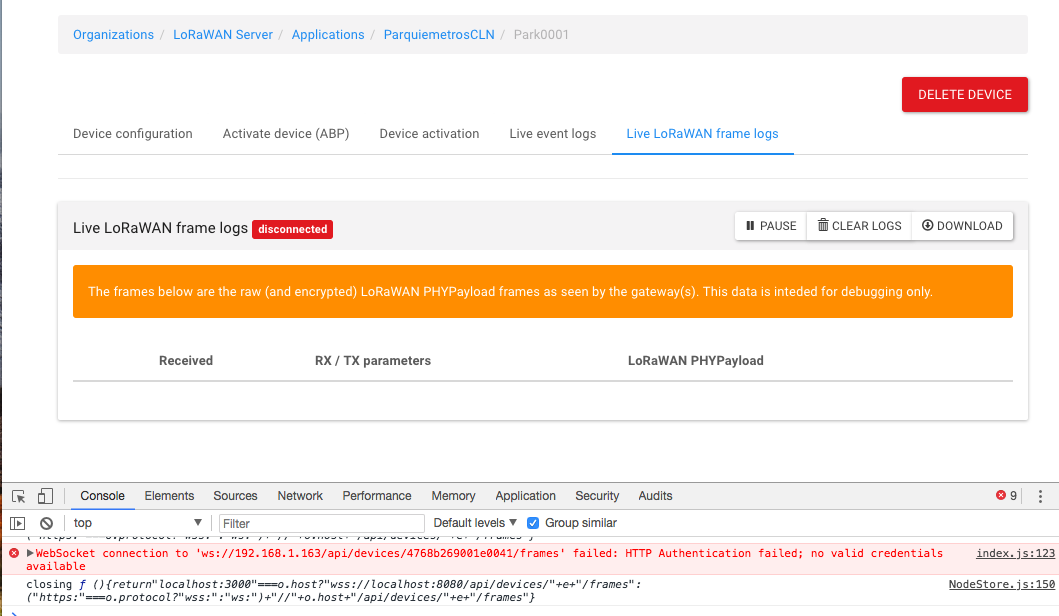 Rpc error: code = Unauthenticated and Live Frame Logs / Live