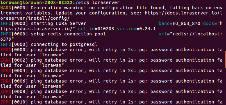 Error, will retry in 2s: pq: password authentication failed for user