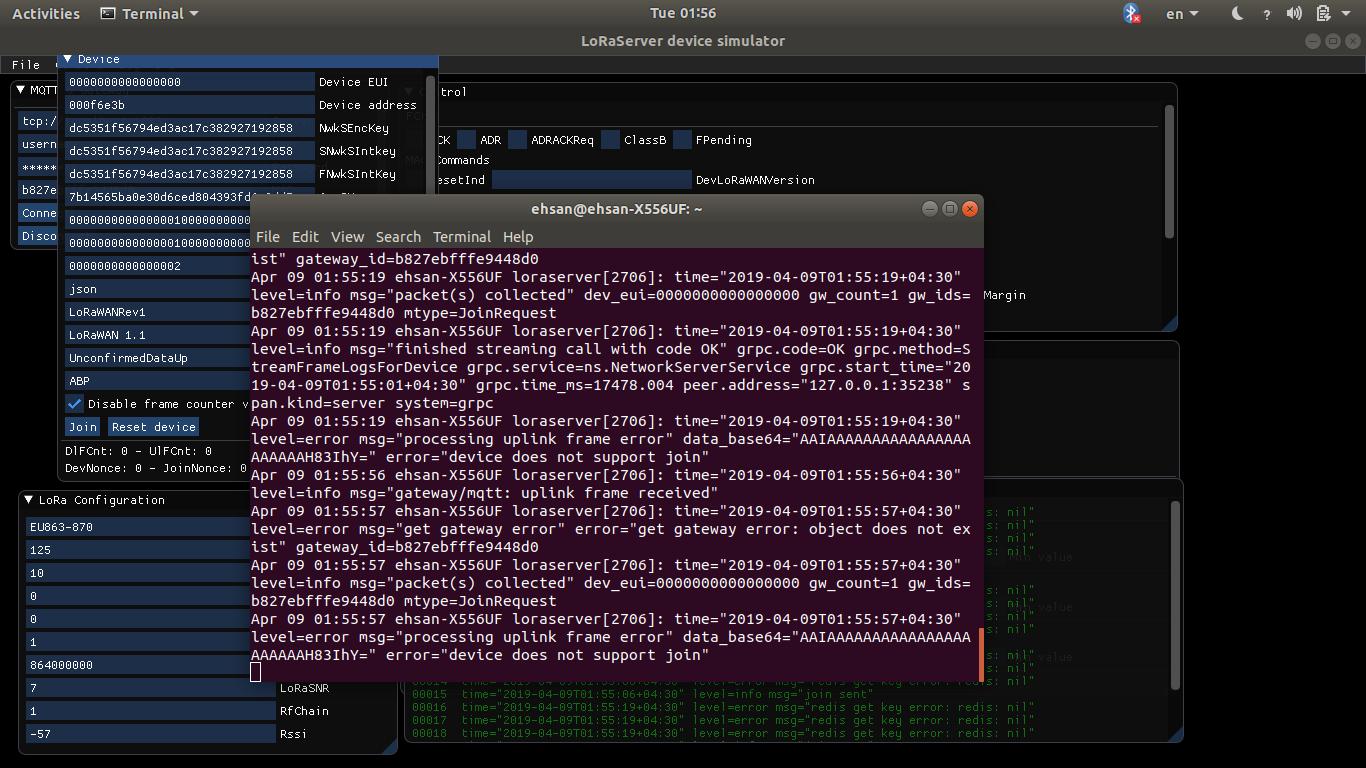 Simulate message from the Gateway => Gateway Bridge - LoRa